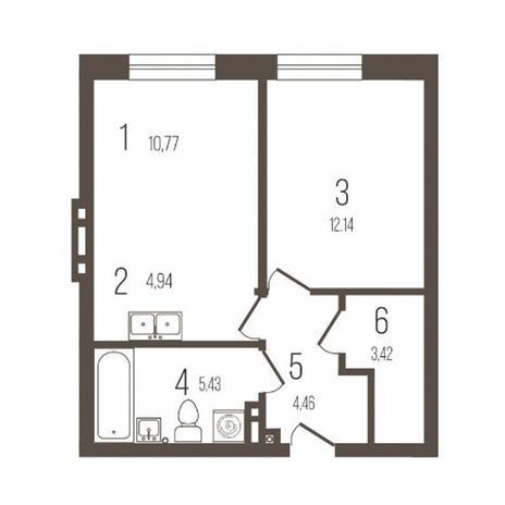 Вариант №3641, 2-комнатная квартира в жилом комплексе История