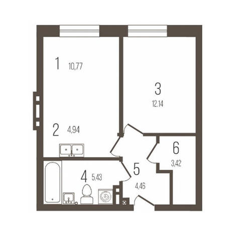 Вариант №3641, 2-комнатная квартира в жилом комплексе