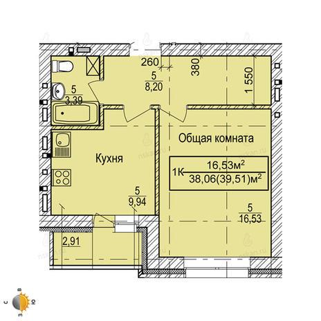 Вариант №2249, 1-комнатная квартира в жилом комплексе