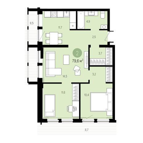 Вариант №5024, 3-комнатная квартира в жилом комплексе Пшеница