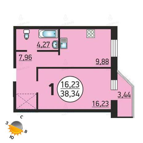 Вариант №1370, 1-комнатная квартира в жилом комплексе Семьи Шамшиных 55