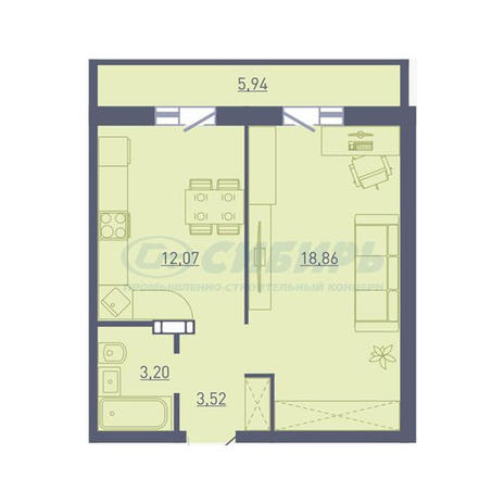 Вариант №3745, 1-комнатная квартира в жилом комплексе Приозерный