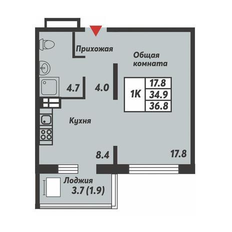 Вариант №3689, 1-комнатная квартира в жилом комплексе