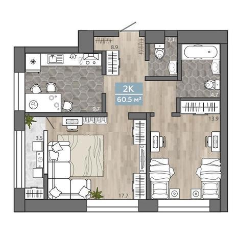 Вариант №3111, 2-комнатная квартира в жилом комплексе На Королева
