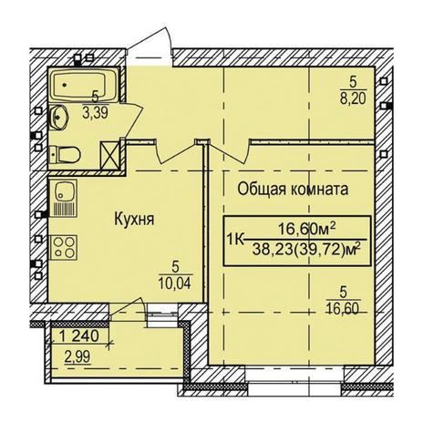 Вариант №3336, 1-комнатная квартира в жилом комплексе