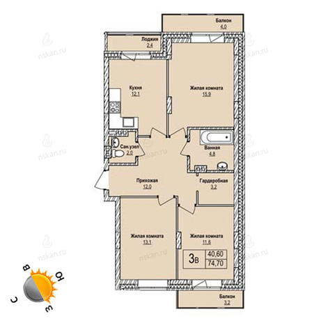 Вариант №1256, 3-комнатная квартира в жилом комплексе