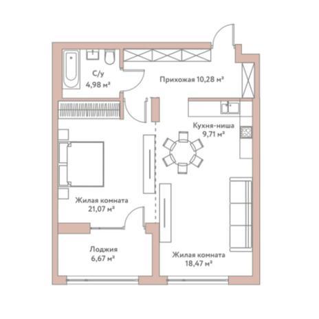 Вариант №5975, 2-комнатная квартира в жилом комплексе