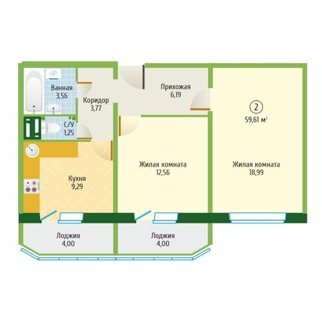 Вариант №6100, 2-комнатная квартира в жилом комплексе