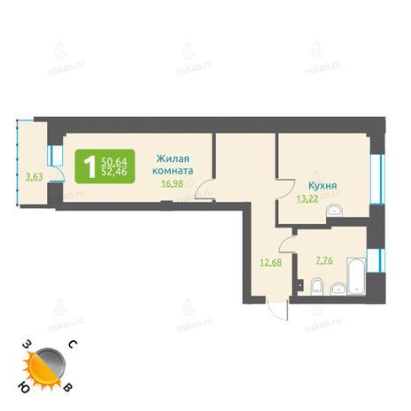 Вариант №1196, 1-комнатная квартира в жилом комплексе Марсель