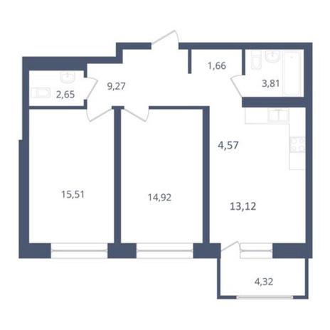 Вариант №3651, 3-комнатная квартира в жилом комплексе