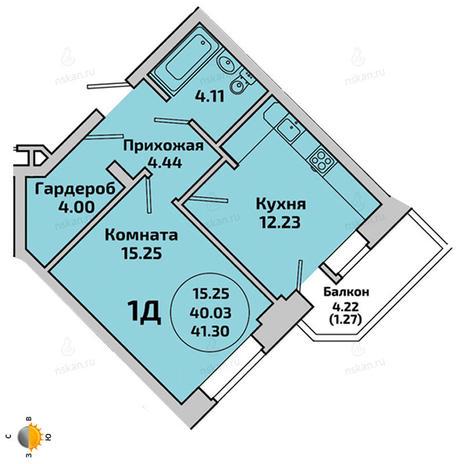 Вариант №1956, 1-комнатная квартира в жилом комплексе Приозерный