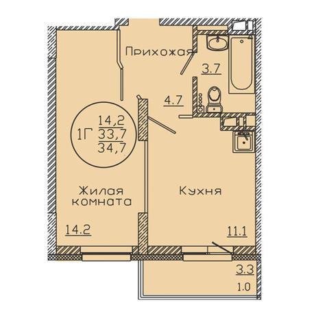 Вариант №3193, 1-комнатная квартира в жилом комплексе