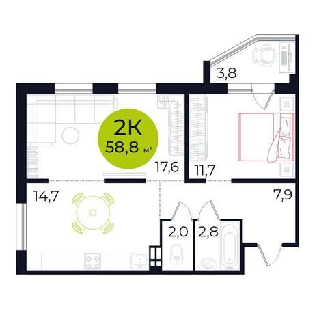 Вариант №5495, 2-комнатная квартира в жилом комплексе