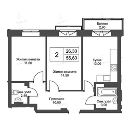 Вариант №2736, 2-комнатная квартира в жилом комплексе Эволюция