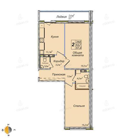 Вариант №2391, 2-комнатная квартира в жилом комплексе