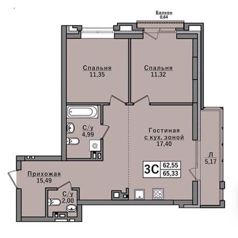 Вариант №2927, 3-комнатная квартира в жилом комплексе Классик (Classic)