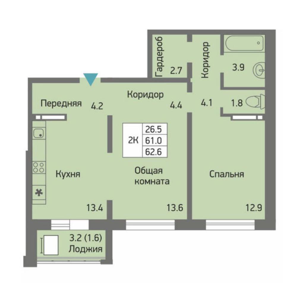 Планировка 2-комнатная площадью 62.6 м<sup>2</sup> в ЖК Акварельный 3.0