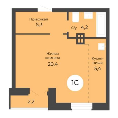 Вариант №5682, 1-комнатная квартира в жилом комплексе