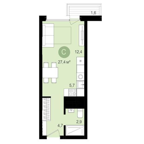 Вариант №4343, 1-комнатная квартира в жилом комплексе Европейский Берег
