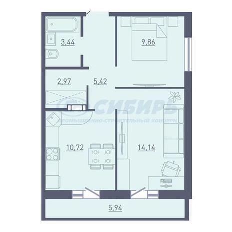 Вариант №3737, 2-комнатная квартира в жилом комплексе Радуга Сибири