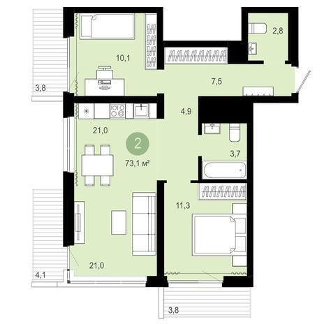 Вариант №4083, 3-комнатная квартира в жилом комплексе Европейский Берег