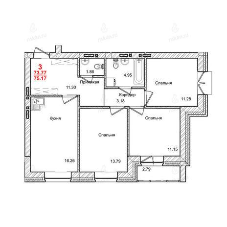 Вариант №1014, 3-комнатная квартира в жилом комплексе Маковского