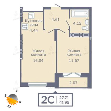 Вариант №1352, 2-комнатная квартира в жилом комплексе