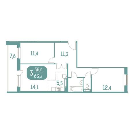 Вариант №2915, 3-комнатная квартира в жилом комплексе Дунаевский