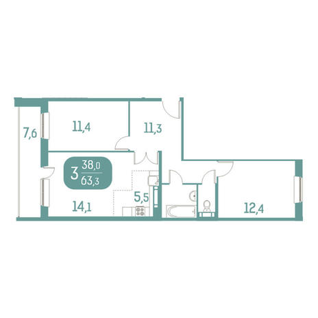 Вариант №2915, 3-комнатная квартира в жилом комплексе Аквамарин