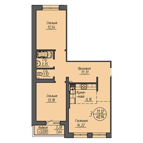 Вариант №3208, 3-комнатная квартира в жилом комплексе