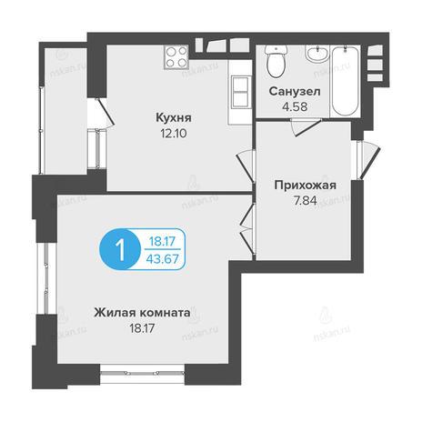 Вариант №991, 1-комнатная квартира в жилом комплексе Огни Сибири