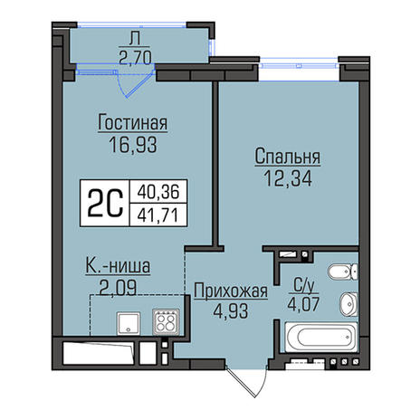 Вариант №2937, 2-комнатная квартира в жилом комплексе Грани