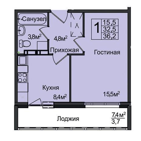 Вариант №3094, 1-комнатная квартира в жилом комплексе Акварельный 3.0