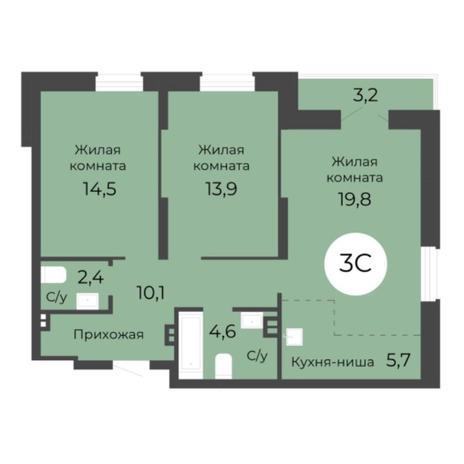 Вариант №5680, 3-комнатная квартира в жилом комплексе