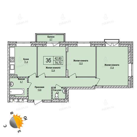Вариант №1105, 3-комнатная квартира в жилом комплексе Эволюция
