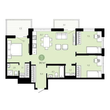 Вариант №4613, 4-комнатная квартира в жилом комплексе Европейский Берег
