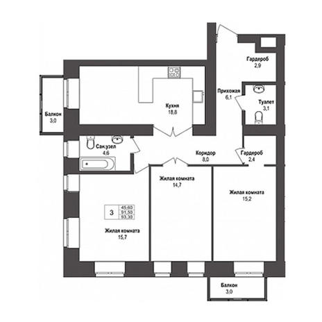 Вариант №3148, 3-комнатная квартира в жилом комплексе Бульварный переулок