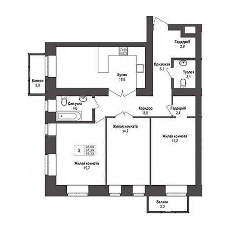 Вариант №3148, 3-комнатная квартира в жилом комплексе