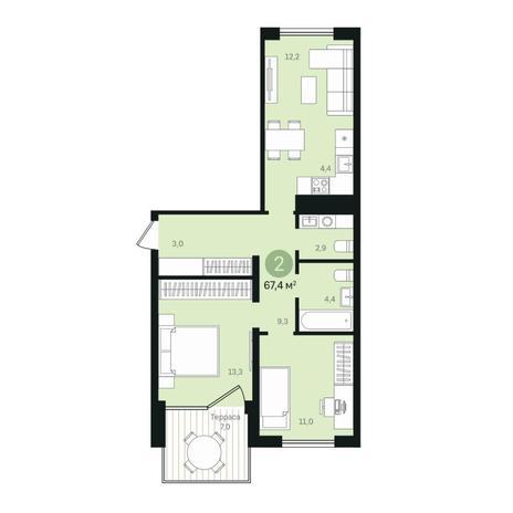 Вариант №6371, 3-комнатная квартира в жилом комплексе