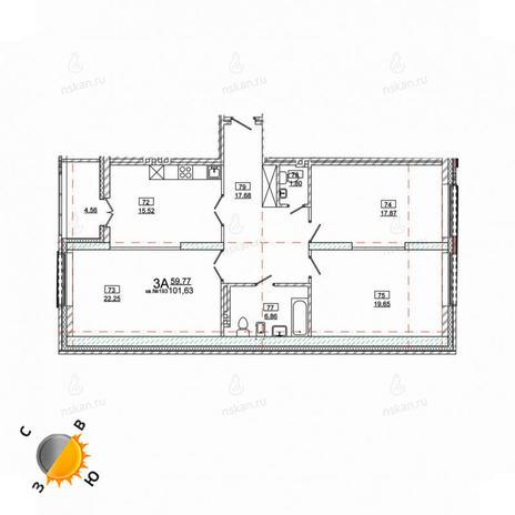 Вариант №981, 4-комнатная квартира в жилом комплексе Римский квартал