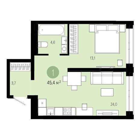 Вариант №4819, 2-комнатная квартира в жилом комплексе Европейский Берег