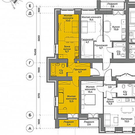 Вариант №3962, 2-комнатная квартира в жилом комплексе Крымский