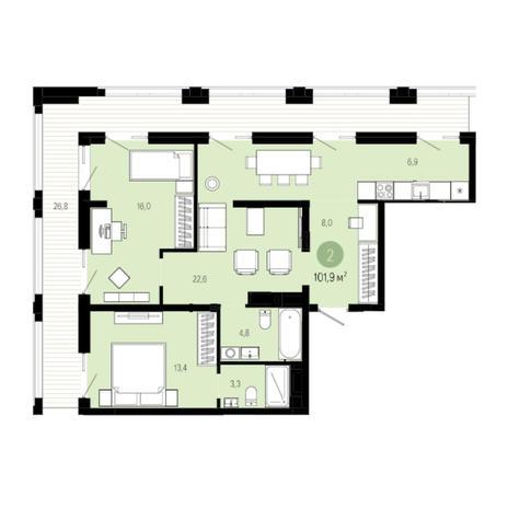 Вариант №6034, 3-комнатная квартира в жилом комплексе