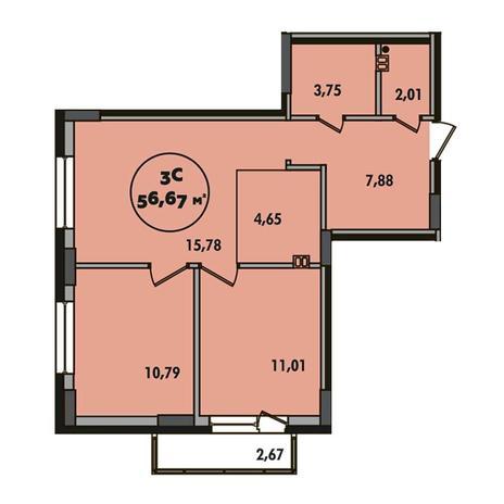 Вариант №5503, 3-комнатная квартира в жилом комплексе Ясный берег