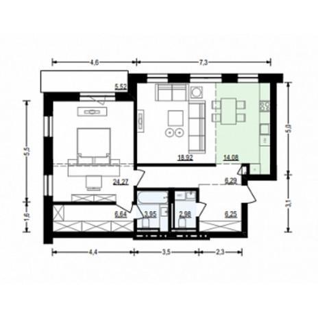 Вариант №4909, 2-комнатная квартира в жилом комплексе Жуковка