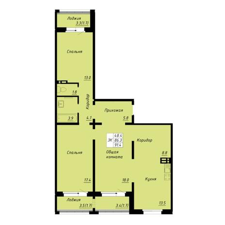 Вариант №5262, 3-комнатная квартира в жилом комплексе