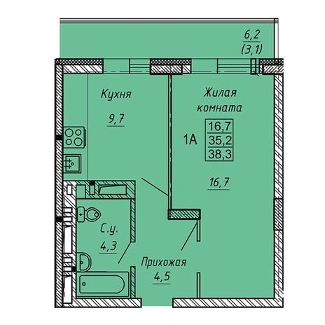Вариант №3272, 1-комнатная квартира в жилом комплексе Ника