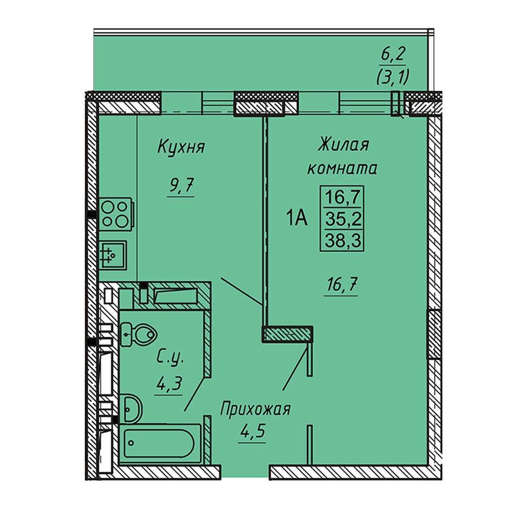 Планировка 1-комнатная площадью 38.3 м<sup>2</sup> в ЖК Ника