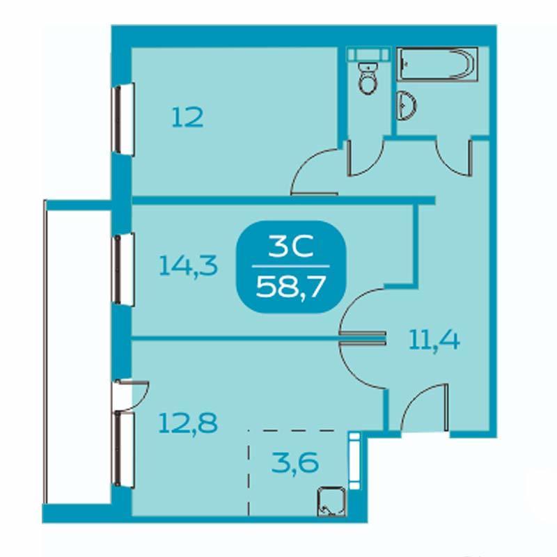 Планировка 3-комн. студия площадью 52.3 м<sup>2</sup> в ЖК Аквамарин