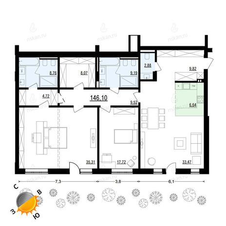 Вариант №908, 3-комнатная квартира в жилом комплексе Жуковка